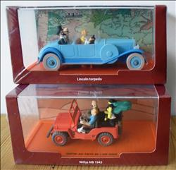 Kuifje / Tintin / Hergé - 2 x Bij Kuifje in de auto - Atlas uitgave - Lincoln Torpedo / Willys MB 1943 - 2012