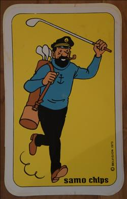 Kuifje / Hergé - sticker - Samo chips - Haddock speelt golf - 1973