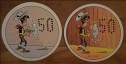 Lucky Luke / Morris - 2 stickers - 50 jaar Lucky Luke - 1997