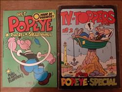 2x Popeye - Puzzel spellenboek  + TV-Toppers no 2 - 1981/1983.