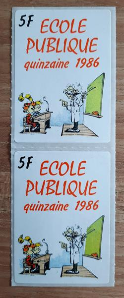 Robbedoes - 2 stickers - Ecole publique 1986