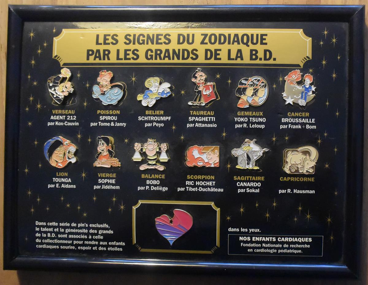Les signes du zodiaque - Complete set pins in kader - 12 stripfiguren - 1992